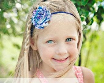 Purple Baby Headband, Infant Headband, Newborn Headband, Toddler Headband- Purple Stripe Shabby Chic Headband