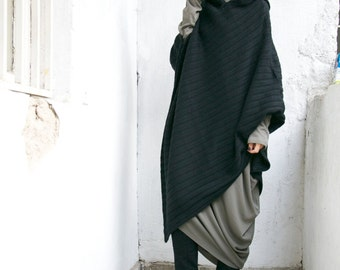 Black Hooded Knit Poncho /  Extravarant Knit  Asymmetric Hoodie / Knit  Cotton Top/ Oversized Top A08056