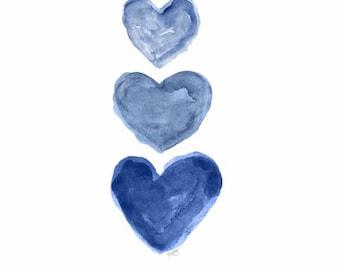 Indigo Watercolor Heart Art, 5x7 Print, Denim Blue, Midnight Blue Decor, Navy Blue Art, Nautical Decor, Navy Blue Painting, Blue Heart