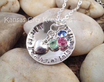 As Long As I'm Living My Baby You'll Be Domed Hand-Stamped Mom Necklace with Heart Charm and Swarovski Birthstones