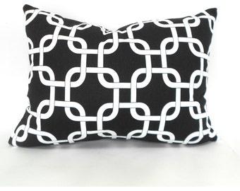 CLEARANCE SALE Black Lumbar Pillow Decorative Pillow Cover Premier Prints Gotcha Black and White