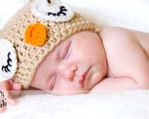 Cute Little Owl Crochet Hat, Crochet Owl Hat, Baby Owl Hat