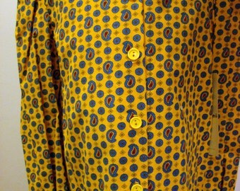 Girls Blouse in Yellow with Blue and red Paisleys   - Size 8 and 10