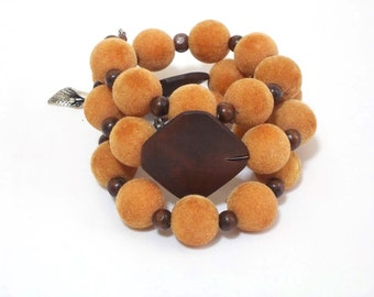 Velvet boho layered stacked bracelet, bohemian jewelry, gypsy, orange, Brown, Artisan Jewelry, Exotic, Big bead