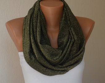 Army green silvery infinity scarf  loop scarf cowl neck warmer women scarves birthday gifts girly accessories women's fashion
