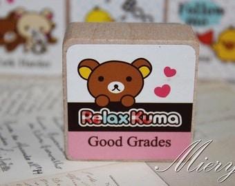 1 Piese Kawaii Bear Stamp - Korean Rubber Stamp - Wood  Stamp - Cartoon - Good Grades