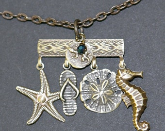 By the Sea Necklace, Star Fish, Sandal, Sand Dollar, Sea Horse, Salamander Necklace
