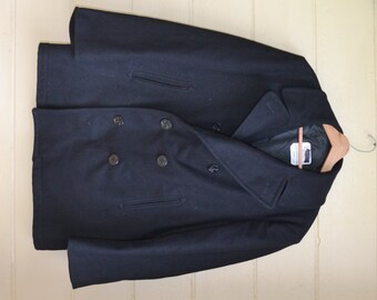 Wool Peacoat Black Peacoat Military Coat Wool Coat Pea Coat US Navy Pea Coat Men's Peacoat Sailors Nautical Coat Size 44