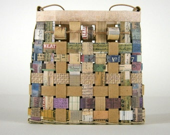 Woven Paper Basket, Natural Neutral Hues, Leather Cord