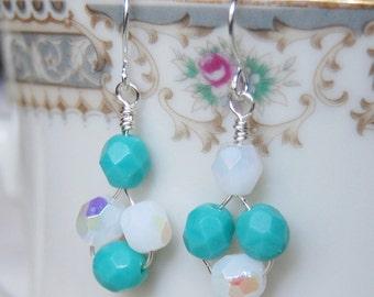 Mismatched Earrings , Turquoise Earrings , Light Blue Silver Earrings , December Birthstone