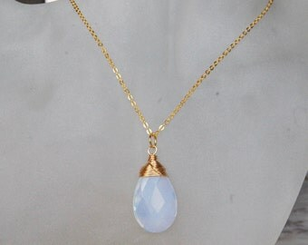 Opalite Necklace , Birthstone Necklace , Gold White Necklace , Wire Wrapped Pendant , October Birthstone Necklace