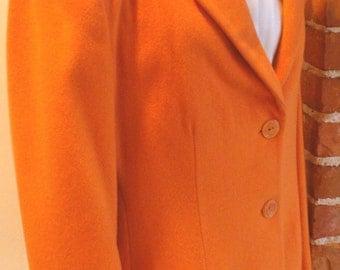 Henri Bendel Orange Sherbert Boyfriend Jacket Made in Italy Size 10 US