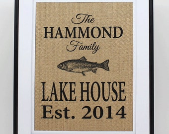 Personalized Burlap Lake House Decor - Custom Lake House Sign