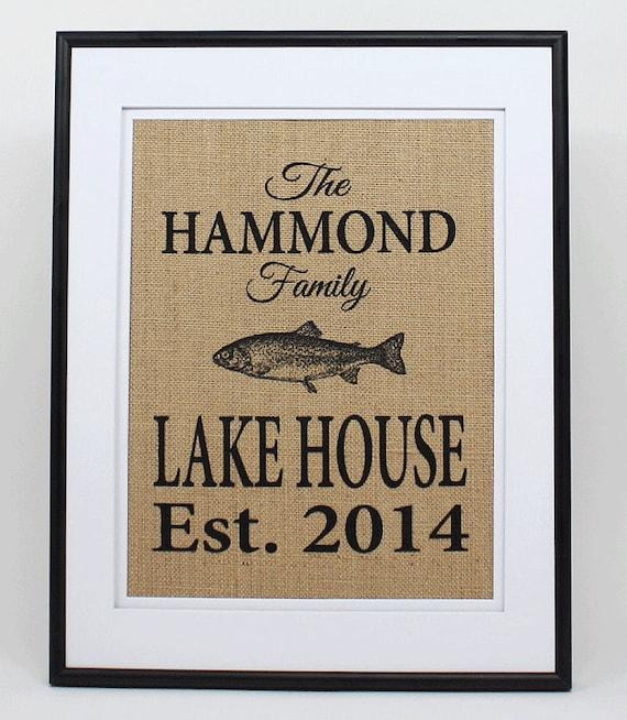 Personalized Burlap Lake House Decor Custom Lake House Sign