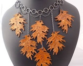 Turning Over a New Leaf -- Leather Leaf Choker Necklace