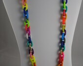Long Multi Colored Acrylic Chain Necklace