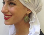 White knit cotton feel Hair Accessorie Womans Head Scarf, Made in USA