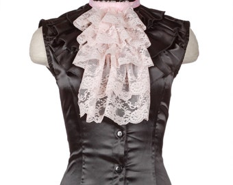 Five Row Gathered Lace Jabot - Pink - Dickensian