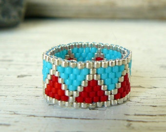 Red and Turquoise Beaded Ring Southwestern Jewelry Native American Inspired Bead Weaving ZigZag Beadwoven Band Custom Made Ring