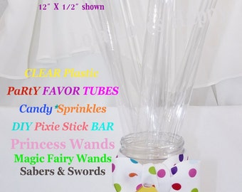 Clear Plastic Tubes-Candy Tubes-Favor Tubes-Princess Wand-Magic Wand-Pirate Sword-Sabor-Gumball Tube-Ribbon Wand-Party Favor-Supplies -Fairy