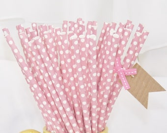 Blush PINK  Mini Dot 25 Soft Blush Pink Paper Straws-  Cake PoP Sticks with diy Printable Flags Wedding , Showers, Tea Party , Princess