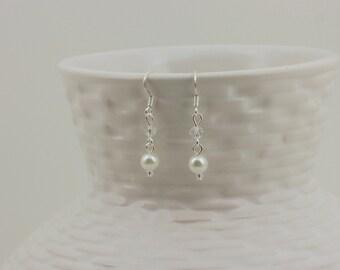 Flower Girl Earrings-Flower Girl Gift-Flower Girl Jewelry-Pearl Earrings-Miniature Bride-Dangle Earrings-White Pearl-Dream Day Designs