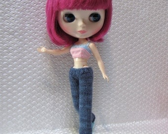 Hipster / Low Rise Denim Blue Straight Leg Jeans - Hand Knitted Trousers for your Blythe Star