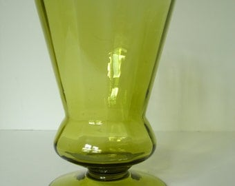 1970's Avocado Green Hand Blown Glass Floral Pedestal Vase made in Minnesota