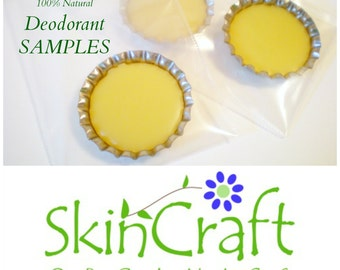 Natural Deodorant Samples - Organic Coconut Oil - Shea Butter - Arrowroot -  Gentle Effective without Baking Soda - Pick a Scent or Several