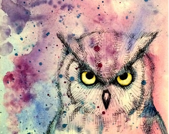 Watercolor Wash Owl Fine Art Print