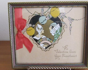 Vintage Victorian Valentine Card Framed Picture Wall Hanging