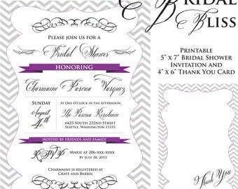 Printable Bridal Bliss Shower Invitation & Thank You Card