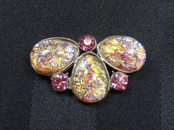 Vintage Brooch Pin Pink Fire Opal & Rhinestones in Pot Metal