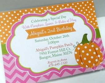 Pumpkin Invitation Pumpkin Birthday Invitation Pumpkin Invite Pumpkin Party Little Pumpkin Harvest Fall Party Girl Pumpkin Invitation Invite