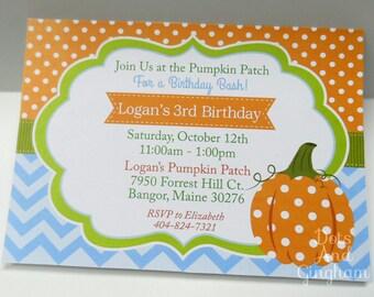 Pumpkin Invitation-Pumpkin Birthday Invite-Pumpkin Party-Pumpkin Birthday-Little Pumpkin-Fall Party-Chevron Pumpkin Invite-Boy Pumpkin Party