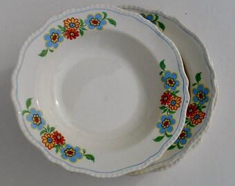 Vintage Steubenville Ivory Flowered Soup Bowls