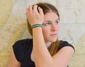 Green and White Bracelet, Michigan State University, MSU Jewelry, Women's MSU Gear, Made in Michigan