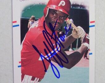 1988 Philadelphia Phillies Jeff Stone Autographed Baseball Card, Fleer  317, Vintage Card, MLB