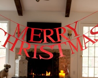 Merry Christmas Word Banner, Merry Christmas Red Glitter Banner, Christmas Garland, Merry Christmas Banner