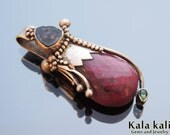 faceted Red Ruby and Watermelon Tourmaline and faceted green tourmaline set  in Sterling silver Organic Pixie feather pendant Discount