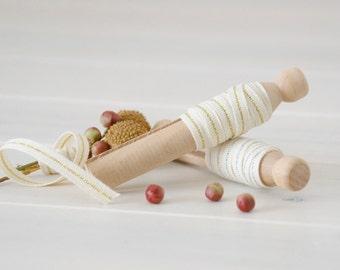 "2 Yards Sampler - Natural Cotton Ribbon with Metallic Thead - Wedding Ribbon - 1/4"" Wide - DIY Weddings - Metallic Ribbons Sampler - Ribbons"