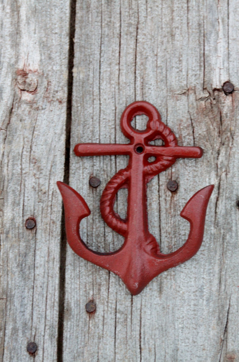 Anchor Coat Hooks Nautical Beach Decor Barn Red Cast Iron Wall