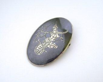 Siam Brooch, Sterling Silver, Siam Pin, Lightning Goddess, Mekkhala, Thailand, Pendant, Nielloware, Black, Silver, Midnight Blue, Midcentury