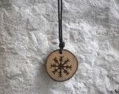 Ægishjálmur wooden pendant - Norse Asatru, heathen Viking jewelry, pyrographed Baltic amber beads necklace - Helm of awe, Viking mythology
