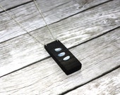 Opal bog oak sterling silver necklace - contemporary geometric abstract, October birthstone pendant, designer artisan ancient wood jewelry