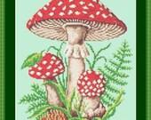 Woodland Speckled Toad Stool Mushroom Fern Glade Cross Stitch Pattern PDF Instant Download