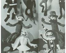 "Wee Folk Knit Fairies Fairy Elf Elves Pixie Leprechaun Sailor Soldier Santa Clown 8"" 8 Inches High Vintage Pattern"