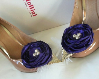 Gorgeous  Satin Flower shoe clips