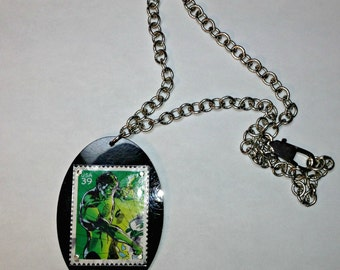 GREEN LANTERN Recycled stamp necklace
