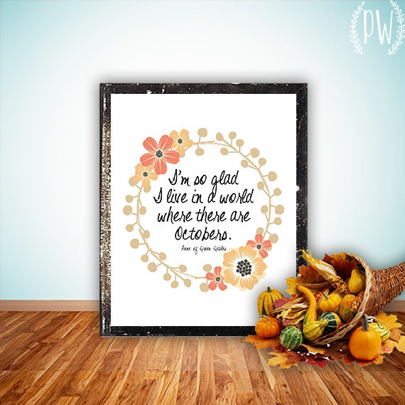 Fall Printable art print octobers decoration autumn quote poem art digital print wall decor poster october print halloween INSTANT DOWNLOAD